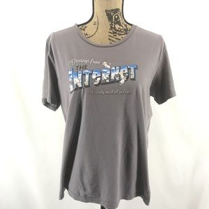 shirt.Woot Tops - Greetings from the Internet Shirt Woot Grey Womens